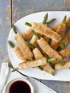 Pastry-Wrapped Asparagus with Balsamic Dipping Sauce