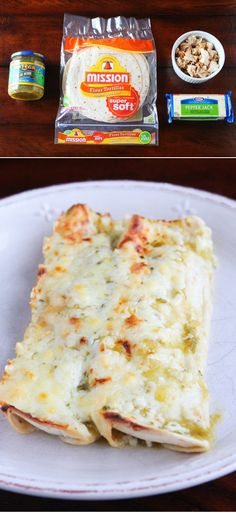 Salsa Verde Chicken Enchiladas. SO good and so easy! Just 4 ingredients.