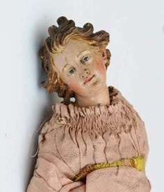 detail of early creche figure from collection