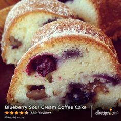 "Blueberry Sour Cream Coffee Cake | ""I couldn't even get a picture of it because everyone ate it right up! It stays nice and moist and is just amazing. You could add any fruit you want instead of blueberries and I omitted the pecans."""