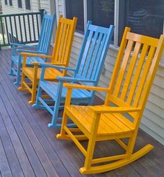 Rocking chairs - honeysuckle and surf blue