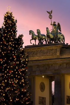 Brandenburg Gate at Christmas time, Berlin, Germany