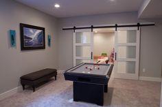 finish basement, closet doors, sliding barn doors, basement reno, basement apart, finished basements, hous, basement idea, sliding doors
