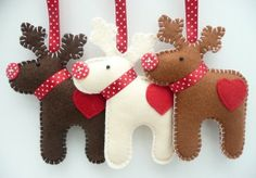 Felt Reindeer Ornaments with button noses--love the red polka dot ribbon that matches the noses.