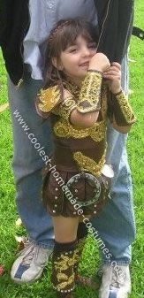 Homemade Xena Warrior Princess Costume: My 4 year old is an avid Xena Warrior Princess fan. She wanted a Homemade Xena Warrior Princess Costume so I went to work making the costume using a 4