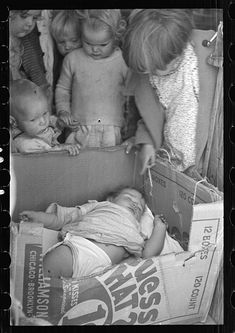 U.S. While the mothers are working in the fields, the preschool children of migrant families are cared for in the nursery school under trained teachers, Kern migrant camp, California, 1936  // Dorothea Lange