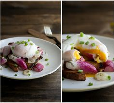 """Buttered Radishes with a Poached Egg"""