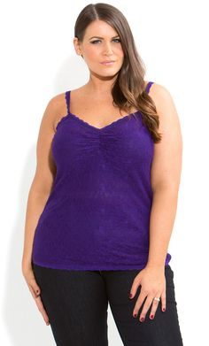 City Chic - LACEY LACE CAMI - Women's plus size fashion