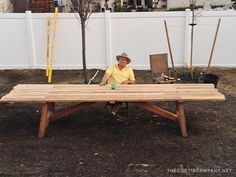 14 person farm house style table for the backyard