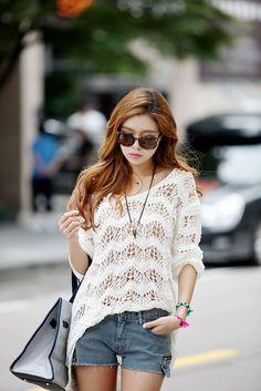 Sheer Knit Long Top