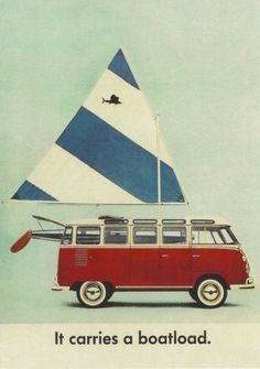 Sunfish sailboat & Volkswagen van - nautical