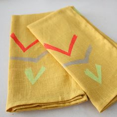 in-flight napkin by diva pyari (lineacarta on Etsy) yellow , vintage