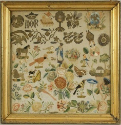 7096: Early 19th C. Spanish Colonial Embroidery : Lot 7096 earli american, room collag, american coloni, earli 19th