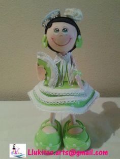 Muñeca fofucha gitana traje verde 20 cm  /Fofucha doll in andalusian green dress 20 cm