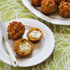 Recipe for Savory Whole Wheat Zucchini Muffins with Feta, Parmesan, and Green Onions (plus 25 more fun ideas for baking with zucchini!) [from Kalyn's Kitchen] #Zucchini #Baking #WholeGrain