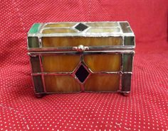 Stained Glass Small Box_Glass Box_Colored by GoldenBeeAntiques, $14.00. I like how this looks like a chest.