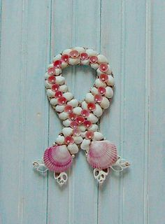 WELCOMING DENISE to the Team! How creative is this? Just in time for Breast Cancer Awareness Month. | Seashell Wall Hanging Beach Wall Hanging by GoneCoastalOutlet, $15.00