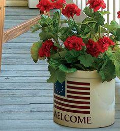 americana garden, flag, flower planters, red flowers porch, flower pots