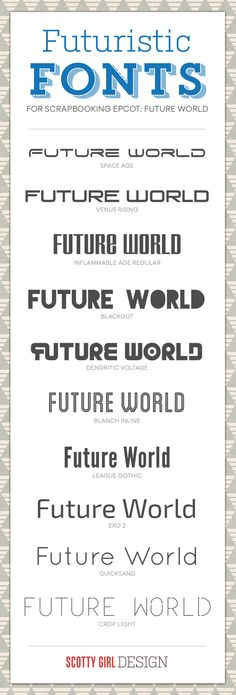 Futuristic Fonts for scrapbooking Epcot's Future World & Tomorrowland #waltdisneyworld #disneyland