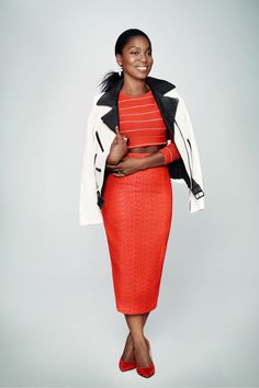 Matching crop-top and skirt + moto jacket + Gilt x Glamour red pumps