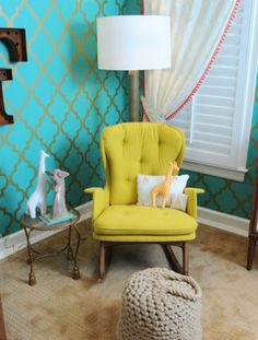 Anthropologie rocking chair - Tori Spelling's #nursery tori spell, nurseries, color, rocking chairs, giraff, wallpapers, babies nursery, accent walls, kid