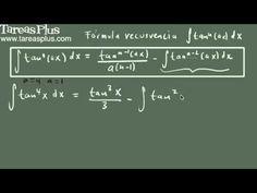 Integral de tangente a la n (fórmula de recurrencia)