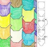 Tessellations with a how-to along the side of the paper...kid-friendly lesson on how to create a tessellation from Kathy Barbro - Art Projects for Kids