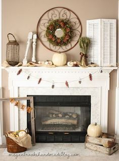 festive fall mantel