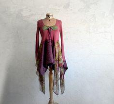 Dusty Rose Lagenlook Tunic Women's Long Top by BrokenGhostClothing, $69.00
