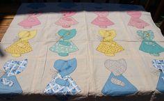 Vintage 30s Sunbonnet Sue Crib Quilt Top by AproposAntiques