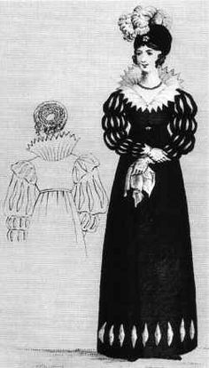 """German Gothic gown, I adore it! Teutsche National-Frauentracht"""", German national lady's clothing. Image published in Journal des Luxus und der Moden, 1815. Originally uploaded to the German Wikipedia by the user """"Rabe!""""."""