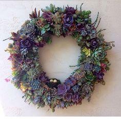 "22"" Romantic Succulent Wreath on Etsy, $280.00"