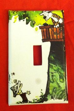 Light switch cover  Calvin and Hobbes treehouse light by Nerdgasmo, $6.99