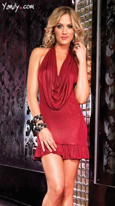 Red, shimmer foil, halter top mini dress with a cowl neck and ruffle hem detail. Sale Price:    $31.95