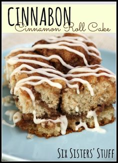 Cinnabon Cinnamon Roll Cake- all the goodness of a cinnamon roll in an easy-to-make cake! It's DIVINE. SixSistersStuff.com
