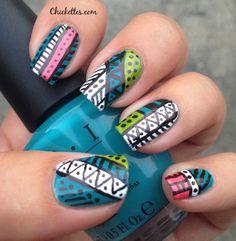 Chickettes.com:  Aztec Nail Art