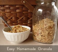 brown sugar, almonds, homemade granola, homemad granola, granola recipes, coconut oil, 4 ingredients, maple syrup, easi homemad