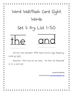 Included in this set are flashcards/word wall cards for Fry High Frequency Word List 1-50 printed in a handwriting font.  They can be printed for f...