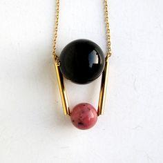 Black onix and rhodonite round beads