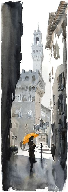 sunlight from the left. shaded alley. splash of yellow. Firenze - Scorcio | Igor Sava