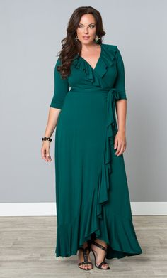 Go green in our plus size Maritime Maxi Dress and feel flirty and sophisticated.  www.kiyonna.com  #KiyonnaPlusYou  #MadeintheUSA  #Ruffles