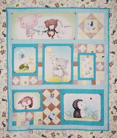 Snuggle Buddies baby quilt kit - adorable baby fabric designed by Stacey Yacula, quilt uses a panel and coordinating fabrics