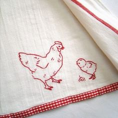 Chicky tea towel embroidery towel, red embroideri, kitchen embroidery, craft, chicki tea, teas, dish towels, embroidery chicken, tea towels embroidery