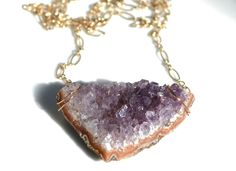 Purple Amethyst Geometric Necklace  Natural Flat Druzy by PURYST, $62.00