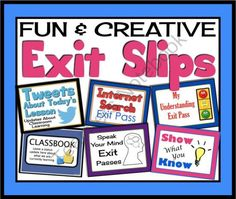 EXIT PASSES FOR ANY SUBJECT! Effective and Creative Formative Assessments from Presto Plans on TeachersNotebook.com -  (33 pages)  - EXIT PASSES FOR ANY SUBJECT! Effective and Creative Formative Assessments
