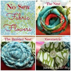 DIY instructions for multiple types of No-Sew Fabric Flowers #gifts no sew fabric flowers, fabric flower diy no sew, diy ribbon, craft project, fabric flowers no sew, ribbon wreath, fabric flowers diy no sew, fabric wreaths diy, nosew fabric