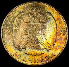 1938 YUGOSLAVIA 50 Dinara RAINBOW TONED SILVER CROWNED DOUBLE EAGLE COIN!