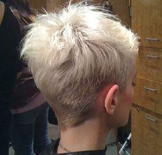 hat pixie haircut, hair cut, short hair hat, platinum short hair, pixie haircut back