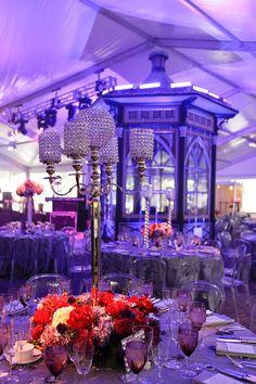 Purple Event Lighting Crystal Centerpieces Bling Candlestick holders purple flowers gala design Evantine Design