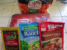 '3-packet pot roast. It's all over Pinterest, so despite not being a fan of pkts of stuff (except 'Good Seasons' Italian: better than ANY bottled, hands down), nor of ranch (sacrilege, I know...), I'm going to try it, tonight.' OMG - this is GOOOOD! It tastes close to my 'Roast Indies' recipe! Watch your crockpot time - mine was fall-apart ready in 5.5 hrs. I flipped the roast every hr or so,